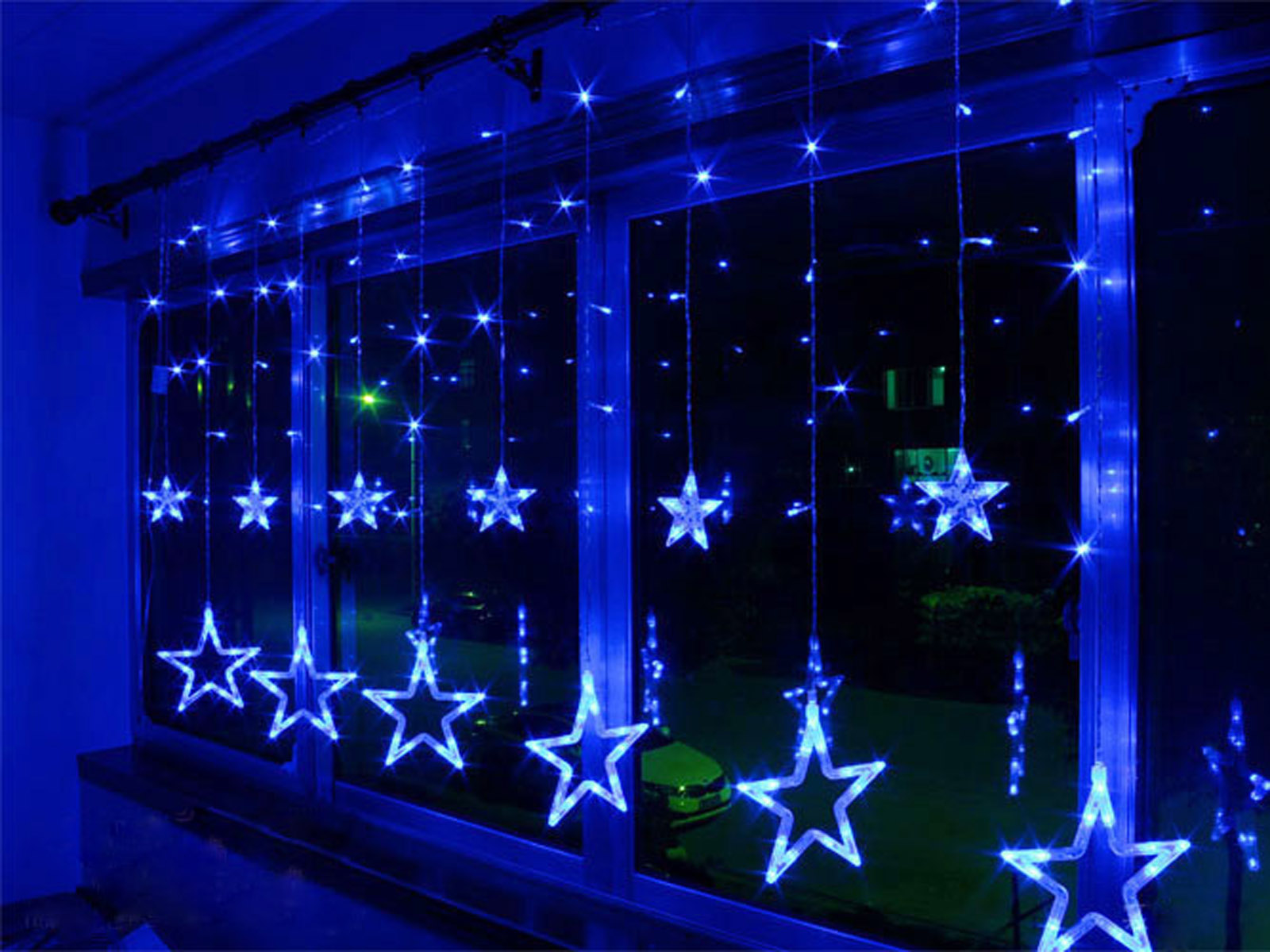 Christmas window decorations lights - Ac220v 240v 138 Leds Strobe Light Christmas Stars Style Decorative String Light For Christmas Partys Wedding New Year Decorations Etc