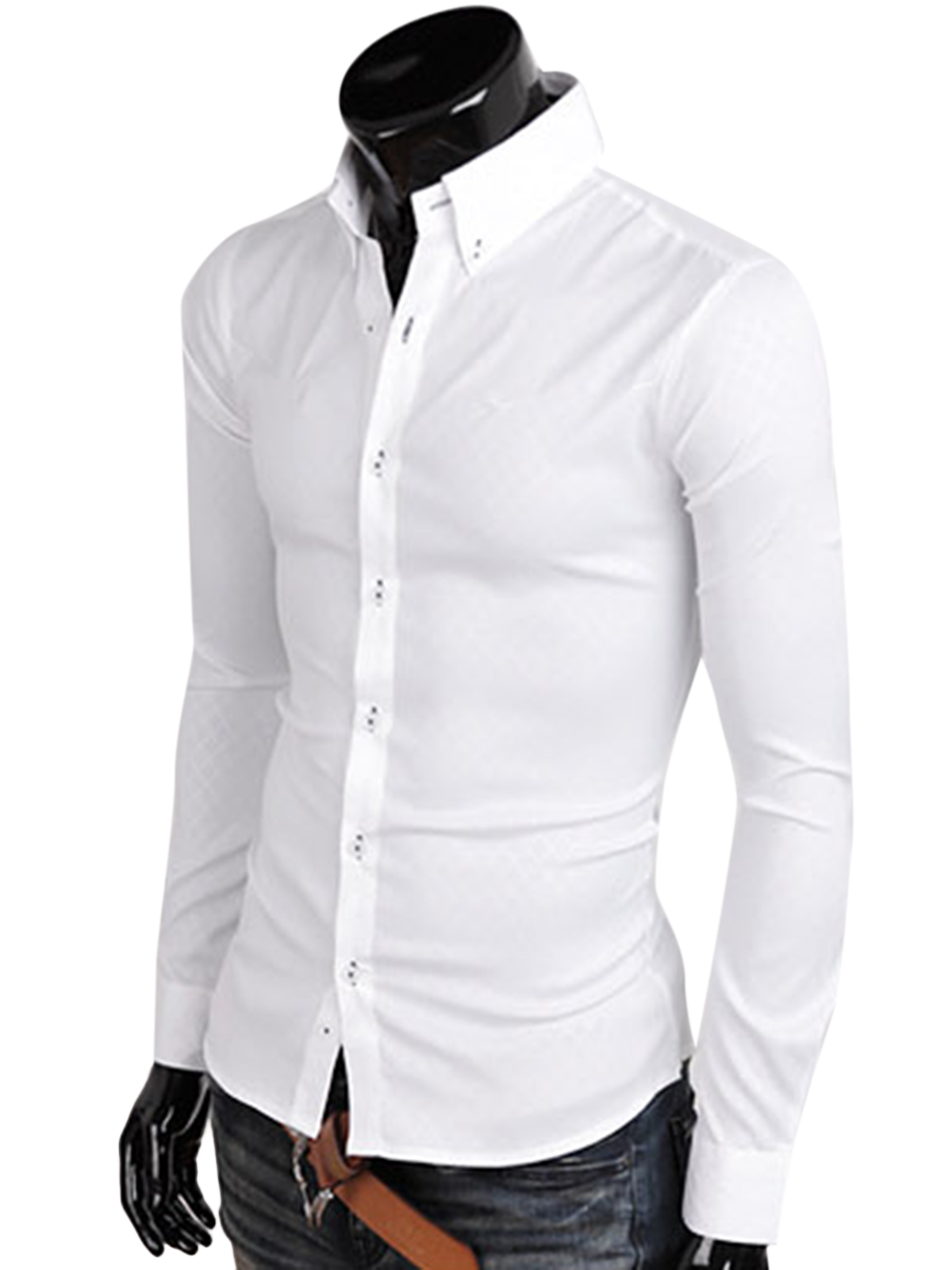 Mens Stylish Formal Fit Slim Long Sleeve Stitch Shirt Business ...